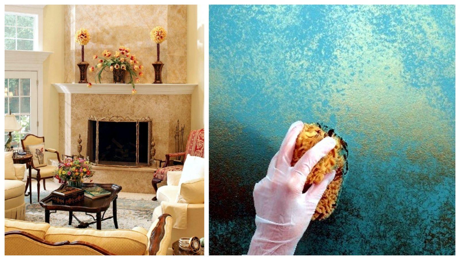 Különleges minták beltéri falfesték és hétköznapi eszközök segítségével.