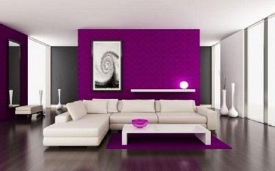 az ultraviola beltéri falfesték kiválóan kombinálható fehér és a föld színeivel